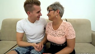 Russian Porn - The old woman with her hair dyed young libertine kisses and has sex with him