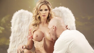 Porn 365 - Sexy lady with protruding nipples is having sex with a bald man
