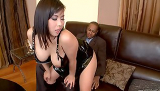 Porn 666 - Asian woman with big milks and dark hair gives a black partner to lick the anus and has sex with him