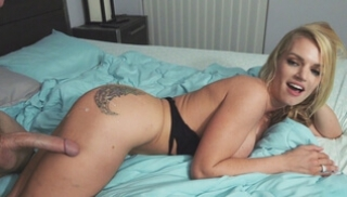 Russian Free Porn - Vaginal fuck with a blonde girlfriend with a tattoo on her buttock