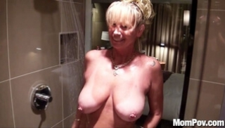 Porn Zab - Old woman with big milkings washed and fucked with her lover
