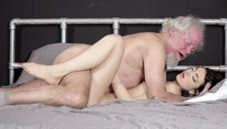 Porn Zab - A gray-haired grandfather meets a young neighbor with small Breasts and inclines her to sex
